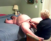 Homemade scene with my golden-haired older wife giving me a cook jerking