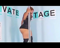 Just a curvaceous black skin disrobe dancer on the pole