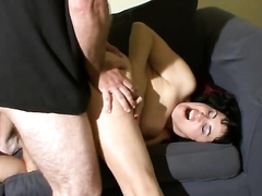 Slutty dark brown enjoys from behind sex and a facial cumshot