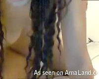 Enticing Brazilian playgirl drills her constricted bald muff with a sex tool