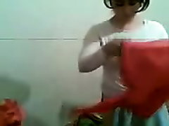 Shy and breasty Arab gf doesn't crave me to film her getting clothed