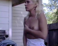 Kinky and sexually excited bitch with worthwhile booty masturbating underneath water
