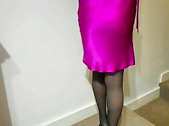 My glamorous amateur wife is wearing a garter belt with thigh-high pantyhose