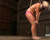 Nasty blonde whore with tiny wobblers receives the torture that babe merits