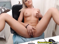 Euro Blonde Hottie Fingers her Tight Cunt