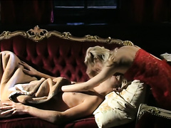 Sexy golden-haired honey acquires finger screwed by devilish blonde dominatrix-bitch