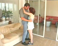 Alluring redhead cheating wife fucks hawt chap in the living room