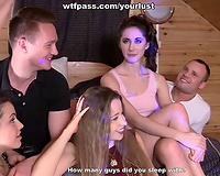 Four hawt cuties fuck their college guys is great group orgy
