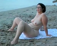 My ideal housewife taking sunbath on the nudist beach