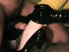 Mistress jerks me off in latex gloves untill I cum on her shoes