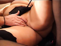 Curvy granny lets her paramour take up with the tongue her love bubbles and play with her vagina