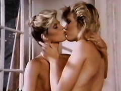 Stunning lesbo scene with 2 retro blondes eating vaginas indoors