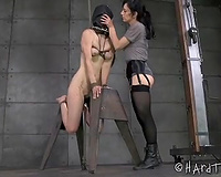 Sweet thrall cheating wife with a mask on her face is tortured by her hot mastix