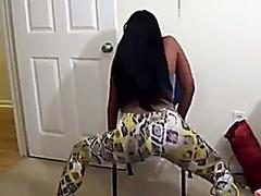 Nasty dark girlfriend with booty shaking on the movie scene