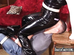 Two nasty whores wearing latex bound a dude and have a fun face sitting