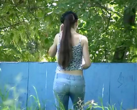 Busty dilettante brunette hair cheating wife was in public when this happened