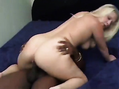Big-assed golden-haired milf sucks and rides a BBC in interracial sex episode