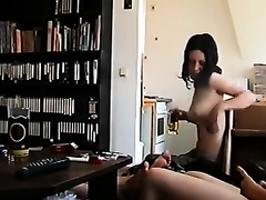Two non-professional cuties flash their milk shakes for the livecam in homemade movie scene