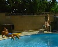 Stunning dark brown whore blows hard wang by the pool