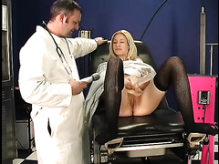 Unbelievably lustful blond acquires her moist cookie examined by her doctor