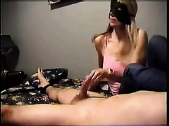 My masked blond GF gives me a cook jerking in homemade CFNM episode