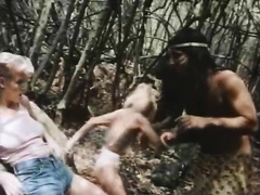 One of the golden-haired strumpets discover a wild aboriginal man for sex