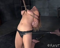 Bounded beauty standing on her knees wants to receive free