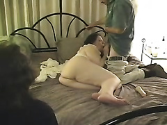 This slut is insatiable and this babe loves being spit roasted