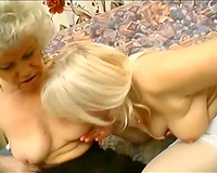 Mature blondes make out and take up with the tongue every other's shaggy cookies