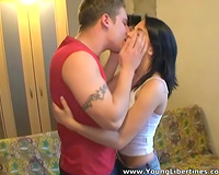Amateur spinner gives head to a dude and lets him slam her vag