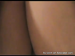 Sexy and hot Spanish dark brown hottie bonks and receives jizzed on