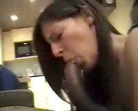 Raven-haired babe acquires down on all fours to dine on his large, swarthy meat