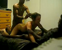 Dirty blond is sandwiched betwixt 2 hung dark males