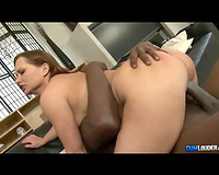 Fiery redhead with giant mounds enjoys large dark cock