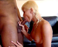Blonde doll chows down a bulky dark ramrod