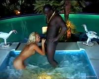 Hot tub interracial hardcore with a dark dick