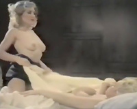 Salacious blondes have a fun licking every others vaginas and milk shakes