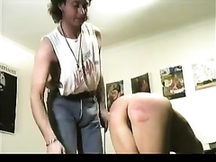 Spanking and caning naughty butt of a cute Asian slave horny white wife
