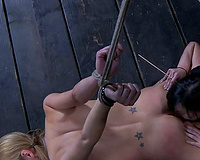 Raven haired mistress licks her slave's cunt to big O