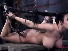 Horny femdom-goddess wishes her breasty serf to take up with the tongue her slit