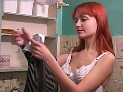 Piss fetish solo scene with excited redhead slutty wife Roksana