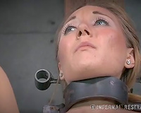 Small titted golden-haired whore with great rack is bounded on castigation chair
