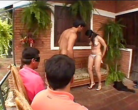 Saucy Latin mistress copulates with cheeky onlooker outdoors