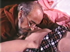 Young brunette hair acquires her twat finger drilled by old kinky chap