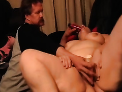 My corpulent dirty slut wife toys her bawdy cleft and allows me to assist her