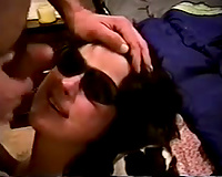 Naughty brunette white girlfriend in sunglasses acquires facial