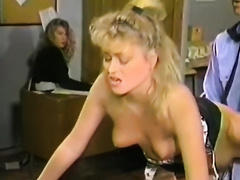 Skanky golden-haired sweetheart copulates police officer in front of his assistant