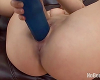 This feisty PAWG bonks herself with her blue marital-device like avid