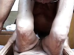Flabby and old white housewife drilled hard on homemade movie