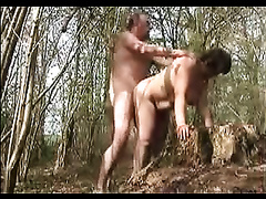 Doggy style standing position sex in the woods with my hottie